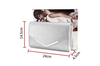 (Silver) - Ladies Envelope Clutch Bag Evening Bag Bridal Wedding Bag Handbag Prom Bag