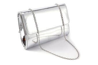 (Silver) - Anladia Metallic Patent Women Clutch Bag Ladies Wedding Prom Evening Bag