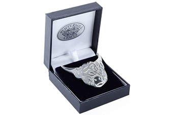 Stunning Hand Cast Scottish Pewter Highland Cow Brooch in Polished Chrome Finish