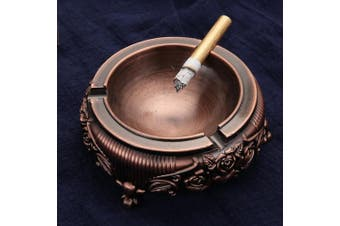(Wine Red) - Feximzl Vintage Metal Ashtray with Embossed Flower for Outdoor & Indoor Use