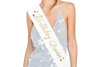 """ADBetty """"Birthday Queen"""" Sash - 15th 16th 17th 18th 21st 22nd 25th 30th Birthday Sash Birthday Gifts Party Favours, Supplies and Decorations (White)"""