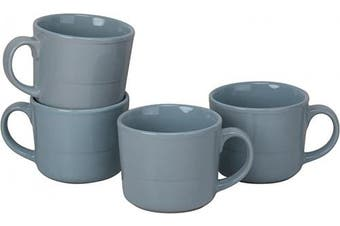 (Mug, Light Blue) - 10 Strawberry Street DBL-28-LTBLU-DS Double Line Mugs (Set of 4), 350ml, Light Blue