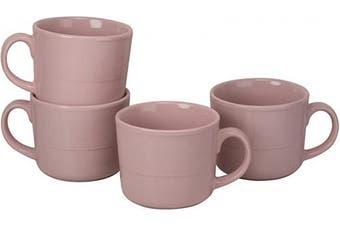 (Mug, Pink) - 10 Strawberry Street DBL-28-PNK-DS Double Line Mugs (Set of 4), 350ml, Pink