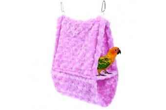 (Purple) - Comidox Double layer Plush Snuggle Bird Hammock Hanging Snuggle Cave Happy Hut Bird Parrot Hideaway Size L (36x14x25)