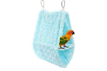 (Blue) - Comidox Double layer Plush Snuggle Bird Hammock Hanging Snuggle Cave Happy Hut Bird Parrot Hideaway Size L (36x14x25)