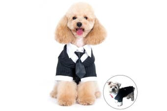 (Medium, Black) - Alfie Pet by Petoga Couture - Oscar Formal Tuxedo with Black Tie and Red Bow Tie