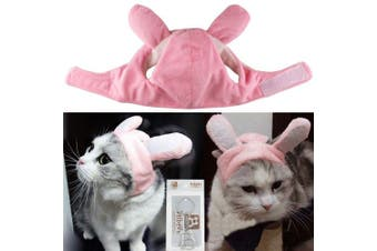 (Medium, Pink Bunny) - Bro'Bear Bunny Rabbit Hat with Ears for Cats & Small Dogs Party Costume Accessory Headwear
