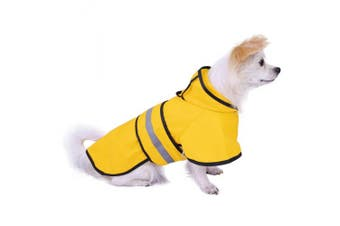(Medium, Yellow) - HDE Dog Raincoat Hooded Slicker Poncho for Small to X-Large Dogs and Puppies