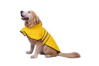 (Large, Yellow) - HDE Dog Raincoat Hooded Slicker Poncho for Small to X-Large Dogs and Puppies