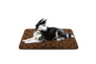 (110cm , Coffee) - Dog Bed Mat Washable - Soft Fleece Crate Pad - Anti-slip Matress for Small Medium Large Pets by HeroDog