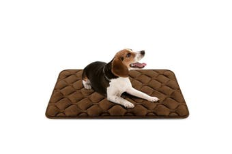 (90cm , Coffee) - Dog Bed Mat Washable - Soft Fleece Crate Pad - Anti-slip Matress for Small Medium Large Pets by HeroDog