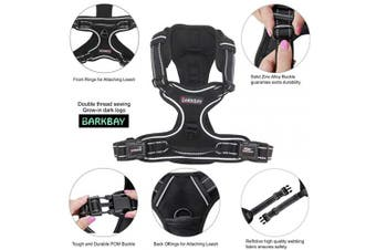 (S, Black) - BARKBAY No Pull Dog Harness Large Step in Reflective Dog Harness with Front Clip and Easy Control Handle for Walking Training Running