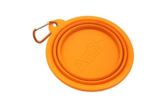 (Orange) - Alfie Pet by Petoga Couture - Rosh Silicone Pet Expandable/Collapsible Travel Bowl with Carabineer for Leash - Size: 1.5 Cups