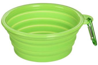 (Green) - Alfie Pet by Petoga Couture - Rosh Silicone Pet Expandable/Collapsible Travel Bowl with Carabineer for Leash - Size: 1.5 Cups
