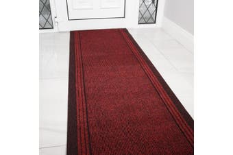(Length: 13' (396cm)) - Red Rubber Backed Very Long Hallway Hall Runner Narrow Rugs Custom Length - Sold and Priced Per Foot