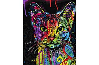 (A-Frameless) - Paint by Number Kit,Diy Oil Painting Drawing Colourful Cat Canvas with Brushes Decor Decorations Gifts - 16*50cm Frameless