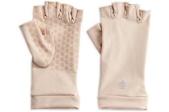 (X-Large) - Coolibar - UV resistant fingerless gloves - Beige