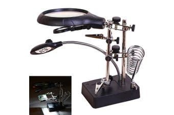 AORAEM 2.5X 7.5X 10X LED Light Helping Hands Magnifier Station,Magnifying Glass Stand with Clamp and Alligator Clips