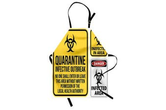 Zombie Apron by Ambesonne, Danger Caution Signs Quarantine Infective Area Biological Illustration Design, Unisex Kitchen Bib Apron with Adjustable Neck for Cooking Baking Gardening, Yellow Red Black