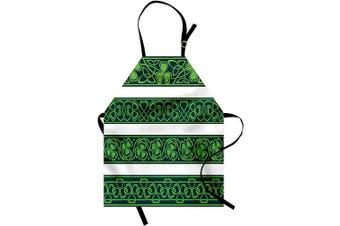 (Forrest Green) - Ambesonne Irish Apron, Shamrock Borders Gaelic Nature Botany Theme Trefoils Swirls, Unisex Kitchen Bib with Adjustable Neck for Cooking Gardening, Adult Size, Forrest Green