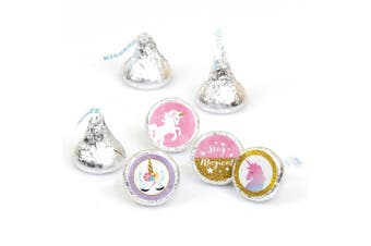Rainbow Unicorn - Magical Unicorn Baby Shower or Birthday Party Round Candy Sticker Favours - Fit Hershey's Kisses-108 Ct