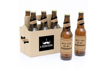 Kraft Moustache - 6 Will You Be My Groomsman Beer Bottle Label Stickers and 1 Carrier