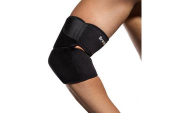 (Black) - BraceUP Adjustable Elbow Support, One Size Adjustable (Black)