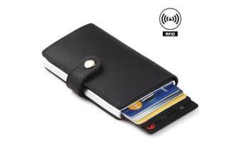 (Black) - Dlife Credit Card Holder RFID Blocking Wallet Slim Wallet PU Leather Vintage Aluminium Business Card Holder Automatic Pop-up Card Case Wallet Security Travel Wallet (Black)