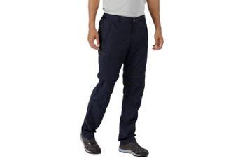 "(Navy, 40S - Waist 40"" (101.5cm), Inside Leg 30"") - Regatta Mens Leesville Quick Drying Polyamide Zip Off Trousers"