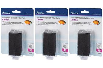 (3 Pack) Aqueon QuietFlow Carbon Specialty Filter Pads, Size 10, 4 Pads Per Pack