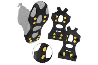 (Small) - ALPIDEX Anti slip shoe spikes with 8 spikes snow and ice grips in various sizes