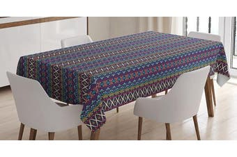 (130cm  W By 180cm  L, Multi 1) - Ethnic Tablecloth by Ambesonne, Colourful Composition with Triangles and Chevron Zigzags Mexican Culture Inspirations, Dining Room Kitchen Rectangular Table Cover, 52 W X 70 L Inches, Multicolor
