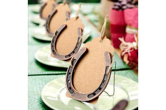 AerWo 20pcs Iron Horseshoes Wedding Favours with Kraft Tag, Rustic Wedding Party Gifts for Table Decorations