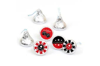 Las Vegas - Casino Party Round Candy Sticker Favours - Labels Fit Hershey's Kisses (1 sheet of 108)
