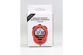(Red) - MARATHON ST083013RD Adanac Digital Glow Stopwatch Timer with Extra Large Display and Digits - Battery Included