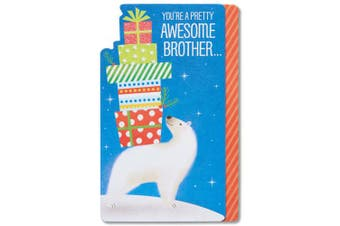 AMERICAN GREETINGS® American Greetings Polar Bear Christmas Card for Brother with Foil