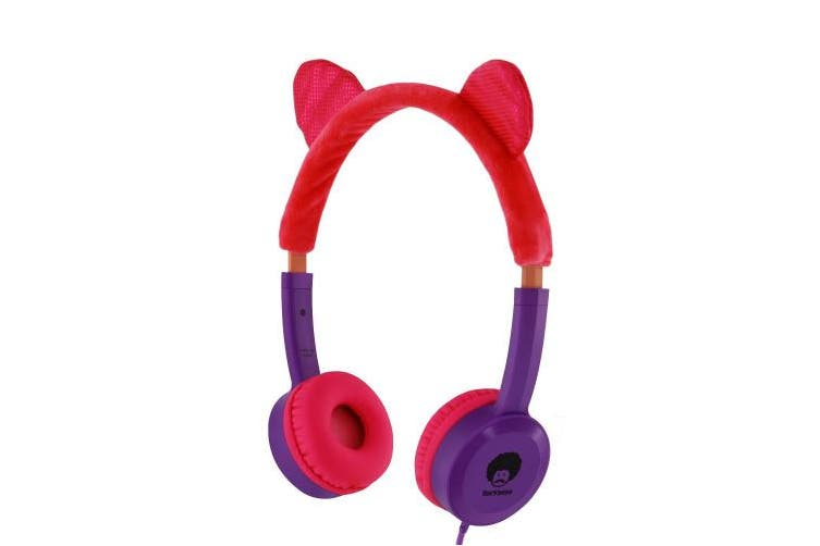 (Pink/Purple) - RockPapa KD350 Volume Limited Headphones with Cat Ear for Childrens Girls Kids 3+ Years Old, for Mp3/4 SmartPhone Tablet Computer In Car/Home, Pink Purple