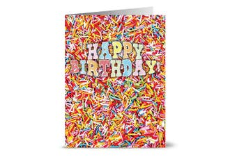 24 Birthday Note Cards - Colourful Sprinkles - Blank Cards - Yellow Envelopes Included
