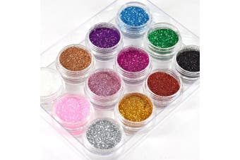 12 Colours Glitter Dust Powder Pots Set Nail Art Tips Decoration