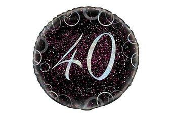 (Foil Balloon, Age 40, Pink) - Unique Party 141720cm - 46cm Glitz Pink Foil 40th Birthday Balloon