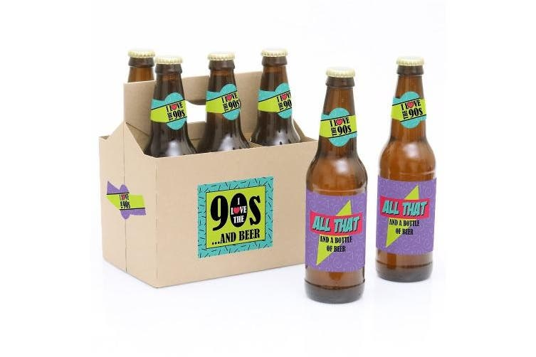 90's Throwback - 6 1990s Beer Bottle Label Stickers and 1 Carrier