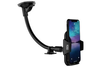 Windshield Phone Holder YOSH Phone Holder for Car Universal Cradles Mount with Flexbile Arm, 360 Degree Rotatable for iPhone X 8 7 6s Plus Samsung Galaxy Note 8 S8 Plus Huawei P10 Honour Moto (Black)