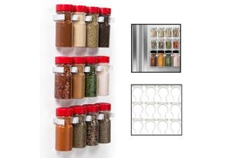 (12) - Magnetic Spice Jar Gripper Clips- Set of 12 Universal Clips - Easily Organise and Reorganise Spices- No Screws Needed