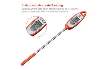 Bonsenkitchen Digital Meat Thermometer for Cooking Meat, Grilling and Barbecue, Large LCD Screen for Instant and Easy Read, 15cm Long Probe, Red (ST8730)