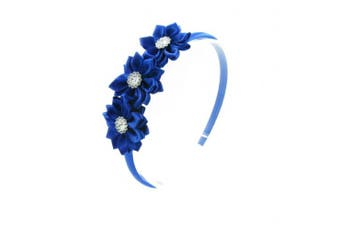(Royal Blue) - PrettyBoutique Triple Satin Flowers Girls Alice Headband Hair Band (Royal Blue)