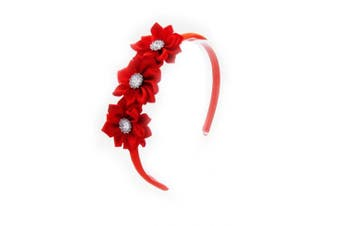 (Red) - PrettyBoutique Triple Satin Flowers Girls Alice Headband Hair Band (Red)