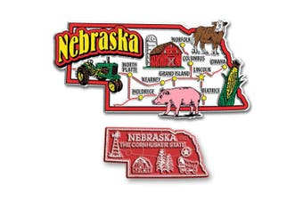 Jumbo & Small State Map Magnet Set - Nebraska