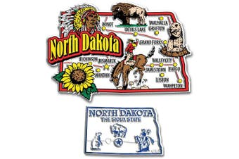 Jumbo & Small State Map Magnet Set - North Dakota