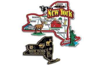 Jumbo & Small State Map Magnet Set - New York