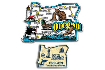 Jumbo & Small State Map Magnet Set - Oregon